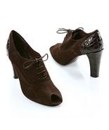 Via Spiga BLACK Suede Croco VARIAN Peep Shoe 6.5M NIB - $113.85