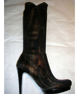 Carlos Santana Black Bronze Knee High Lizard Stretch Boots 6.5 M NWOB - $84.15