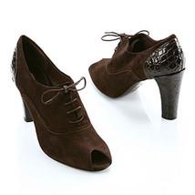 Via Spiga Brown Suede Croco Varian Peep Shoe 7.5 M Nib - $113.85