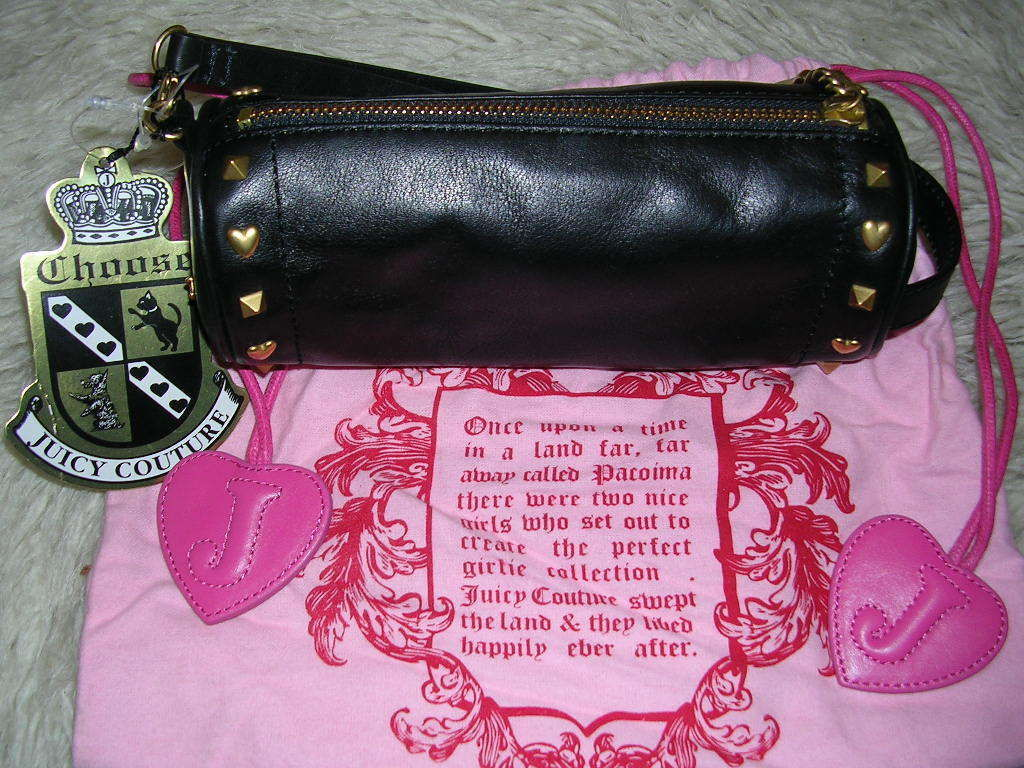 Primary image for Juicy Couture Black Leather Barrel Wristlet Gold Heart Studs New With Tags