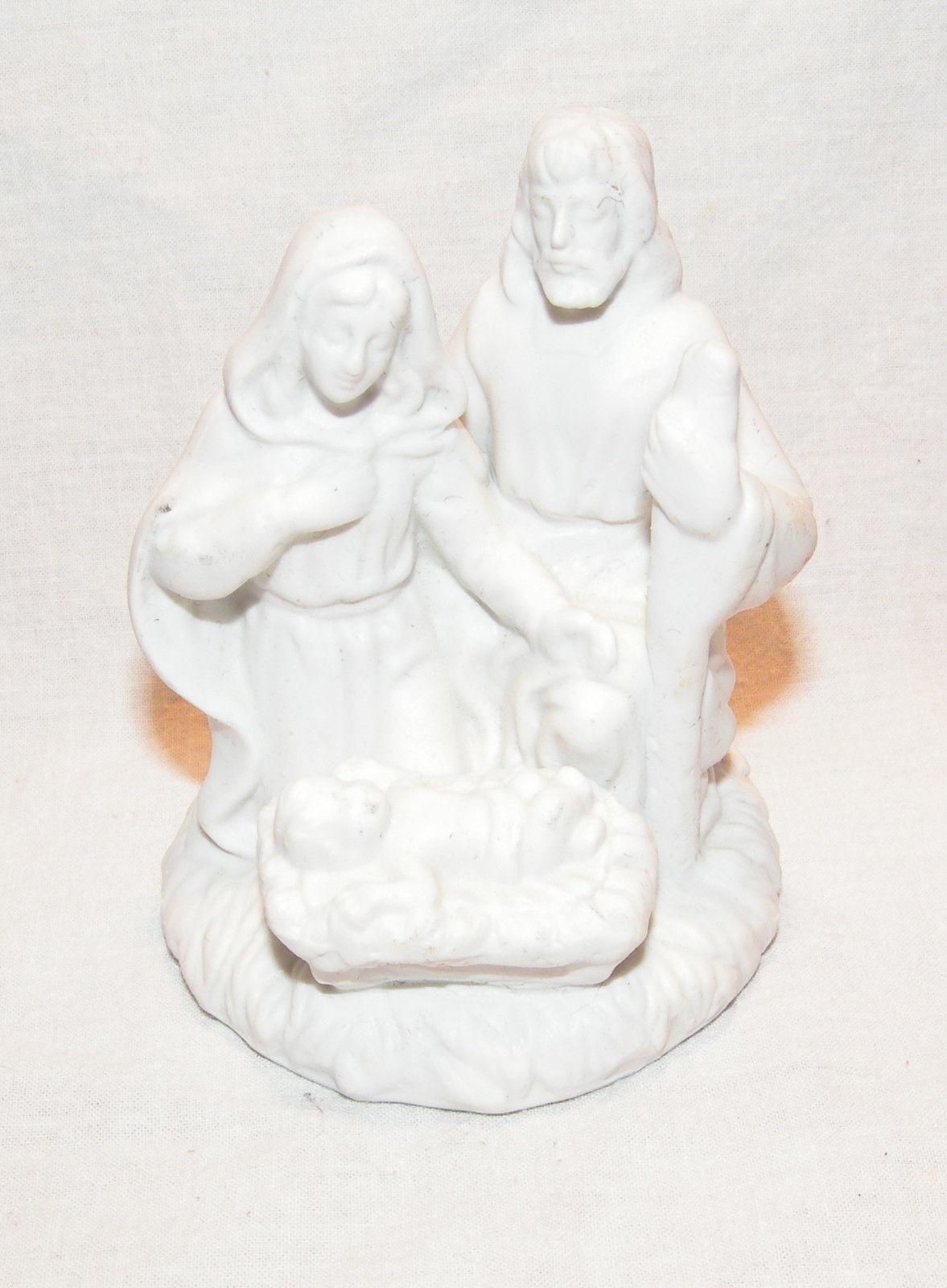 Reduced Sale Nativity Figurine Mary Joseph Jesus White Porcelain Christmas