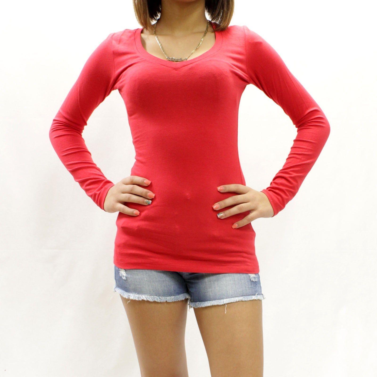 New Womens Basic Slim Fit Long Sleeve V Neck T Shirt