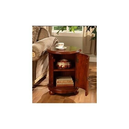 birch drum table end accent living room furniture decor walnut cherry