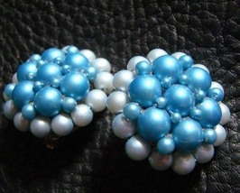 Vintage Blue Pearl Domed Clip On Earrings 1950s - $55.00