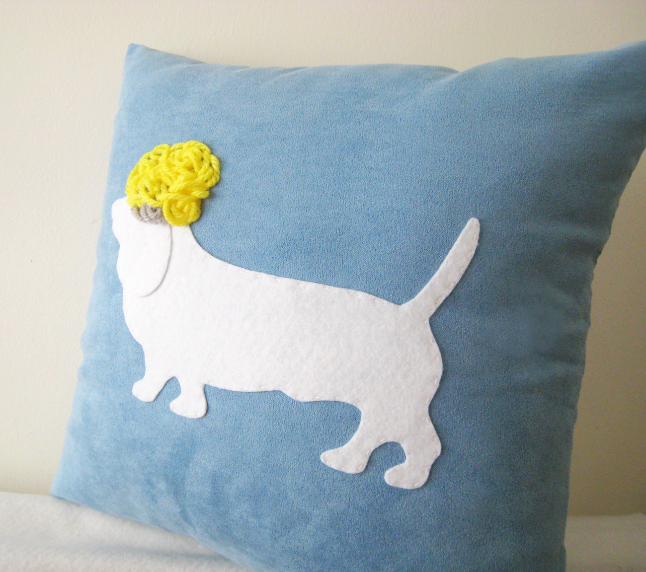 Dog Basset Hound With Funny Hair Blue And White Pillow Cover. Humor.Pets Lovers