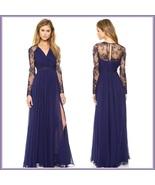 Elegant Navy Leg Slit Long Chiffon V Neck Lace Back Long Sleeves Evening Gown - $63.95