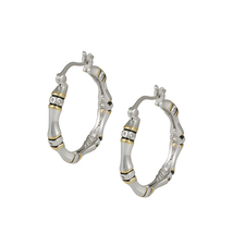 Art Deco Bamboo Collection Two Tone CZ Rhodium+Gold Plated Hoop Earrings - $29.99