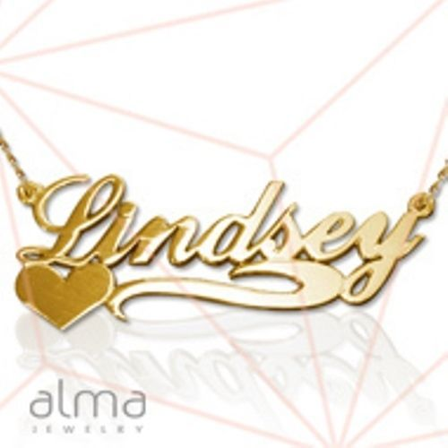 Primary image for 14k solid yellow pure gold necklace chain fine jewelry custom name men women