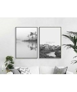 Nordic Black And White Mountain Tree Water Landscape Poster And Print Ca... - $5.99+