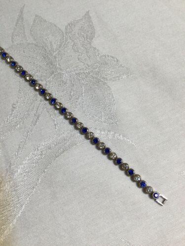 "Vintage Avon blue & Silver tone rhinestones metal bracelet 7"" long"