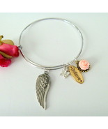 Angel Wing Silver Plated Bangle Bracelet with Rose Butterfly Believe Charms - $9.99