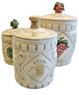 American Atelier San Marco Earthenware China Garden Set of 3 Vintage Can... - $41.36