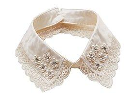 Retro Elegant Lace Beads Detachable False Collar Stand Collar-Lace Flower image 2
