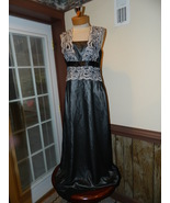 JS Collection size 8 Black over Silver Formal Prom Party Pageant Cruise ... - $37.99