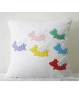 When Pigs Fly. Colorful Flying Pigs White Pillow Cover. Cute Easter Gift - $31.00