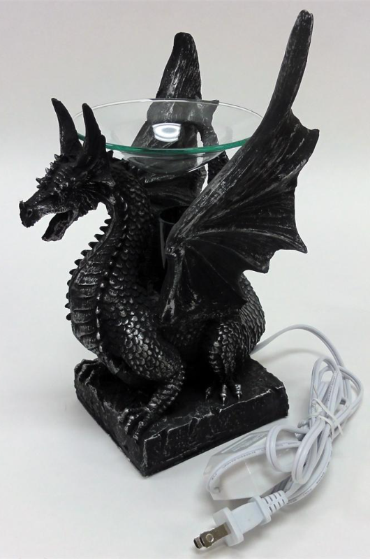 Sitting poly resin dragon with black horns oil warmer incense burners - Dragon oil warmer ...