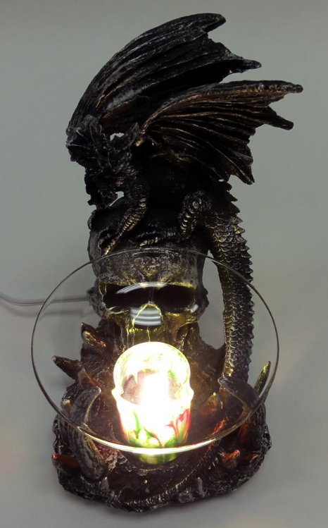 Black dragon with skull polyresin electric oil warmer incense burners - Dragon oil warmer ...