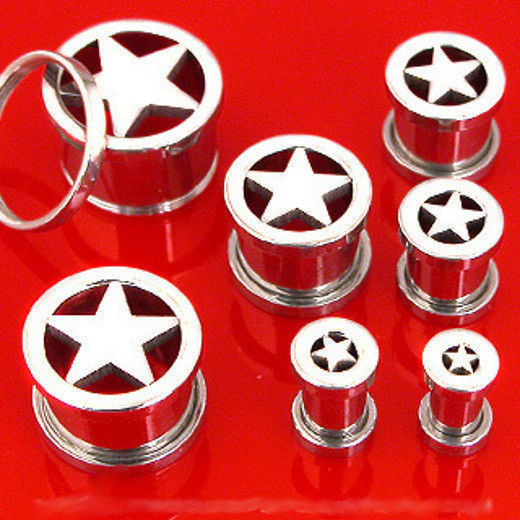 Primary image for Pair STEEL STAR SCREW ON PLUGS tunnels ear flesh gauges CHOOSE SIZE 00g-8g