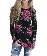 Black Long Sleeve Floral Autumn Womens Top  - $18.21