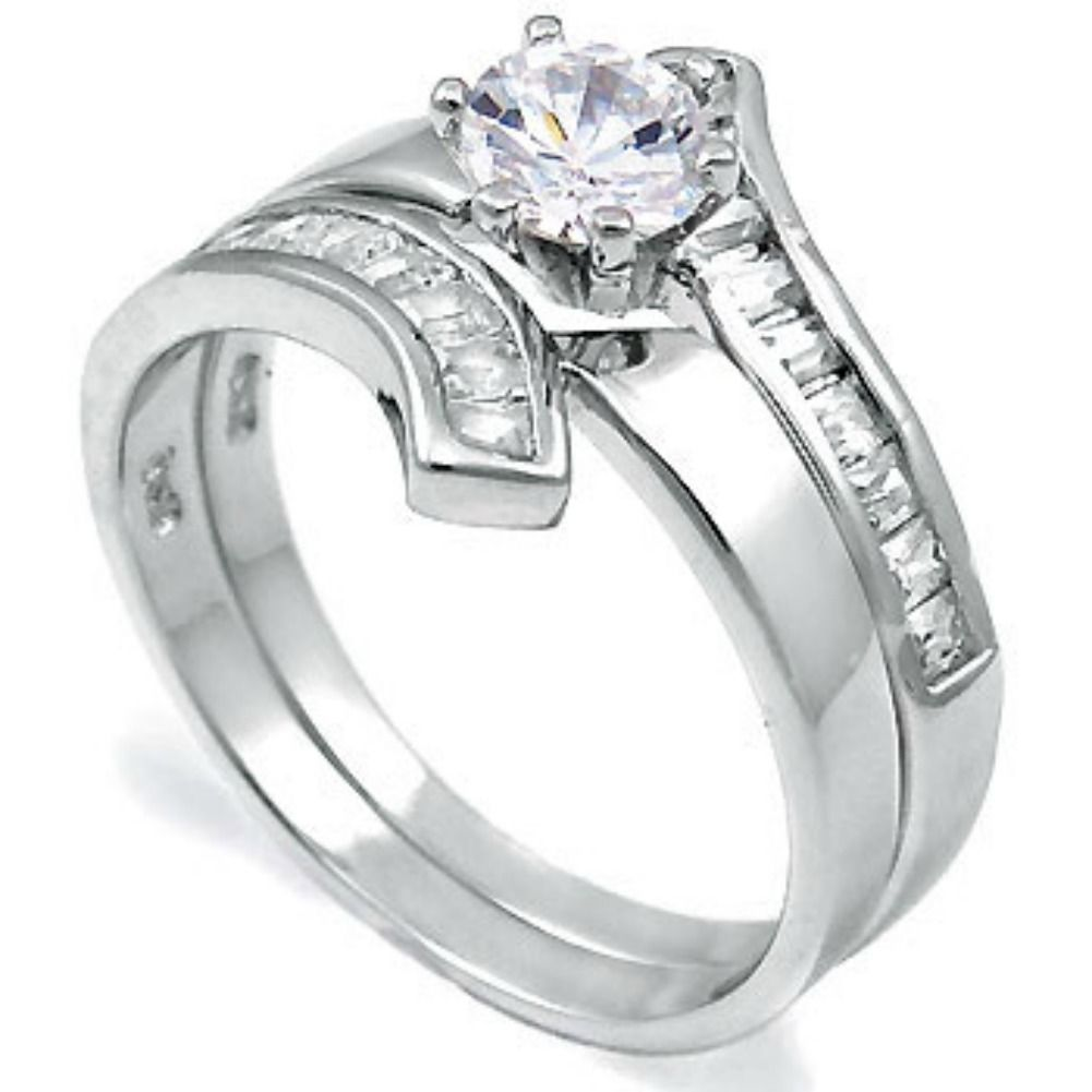 Primary image for Sterling Silver wedding set size 9 CZ Round cut Engagement ring Bridal New w27