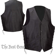 Mens Black Solid Leather Lined Vest with Side Laces Waist Coat Biker Mot... - $31.95+
