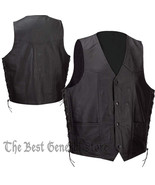 Mens Black Solid Leather Lined Vest with Side Laces Waist Coat Biker Mot... - $31.95+
