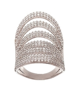 14K WHITE GOLD VERMEIL-9Row Pave Open Scoop Stack Dome CZ Knuckle Ring-B... - $129.00