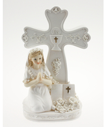 """Praying Communion Girl By a Cross 8"""" Tall All in White Poly Resin  - $12.99"""