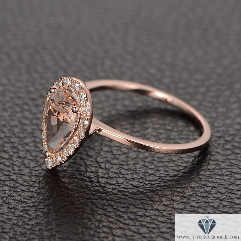 14K Rose Gold Halo Pear Shape Pave Diamond Engagement Ring Genuine Gemstone