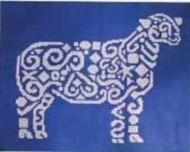 Tribal Sheep monochrome cross stitch chart White Willow stitching - $6.30