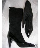 Marc Jacobs Black Suede & Patent Tall Boots 38.5 8.5 M - $345.51