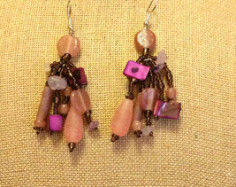 HANDMADE ROSE QUARTZ, PINK, PURPLE, AMBER GLASS BEADED DANGLE  EARRINGS - $12.86