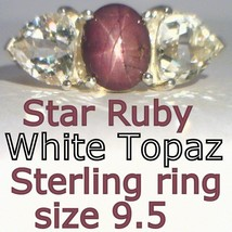 Star Ruby no glass filling, White Topaz Handmade 925 Silver Ladies Ring size 9.5 - £110.21 GBP