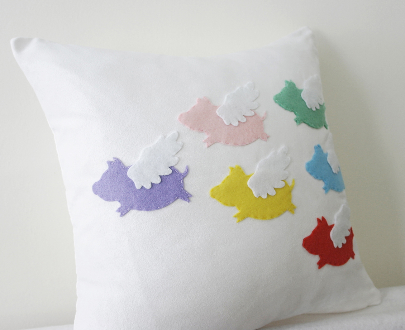 When Pigs Fly. Colorful Flying Pigs White Pillow Cover. Cute Easter Gift