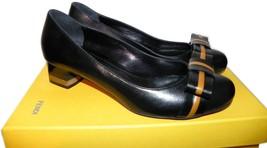 Fendi Black Leather Bow Pump Low Heel Shoe  Cap Toe Ballet 39.5-  9 - $299.99