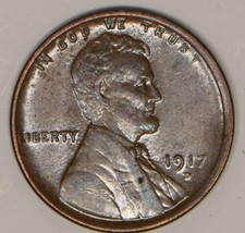 1917-D Lincoln Wheat Cent; Lustrous Choice AU-Unc. image 1