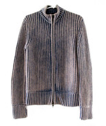 Marc Jacobs Blue & Beige Ribbed Cotton Knit Swe... - $68.00