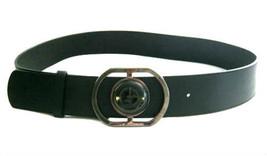 Giorgio Armani Black Leather Belt w/ Gunmetal & Lucite Buckle sz 44 - $125.00