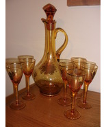Antique amber decanter and glass set, made is Romania, with flowers of gold - $45.00