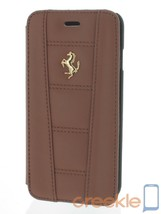 Ferrari 458 Camel Brown Leather Booktype Case w/ Gold Emblem for iPhone ... - $59.49