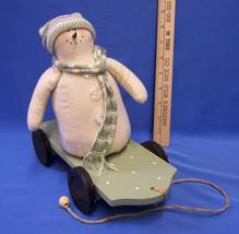 Decorative Snowman Figurine Plush w/ Wood Wooden Base Pull Toy Christmas... - $12.22