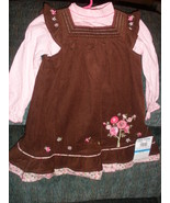 Girls dress set  in corduroy with longsleeve top in brown and pink, new ... - $11.00