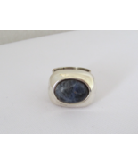 Vintage Mexican Sterling Silver Sodalite Bold Ring Size 5 - $65.00