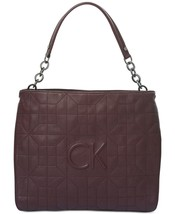 Calvin Klein Hera Quilted Leather Large Hobo Handbag, Rum Raisin - $195.00