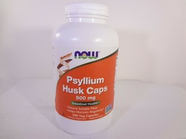 NOW Psyllium Husk Caps 500mg Intestinal Health 500 Veg Capsules 23-N  - $21.78