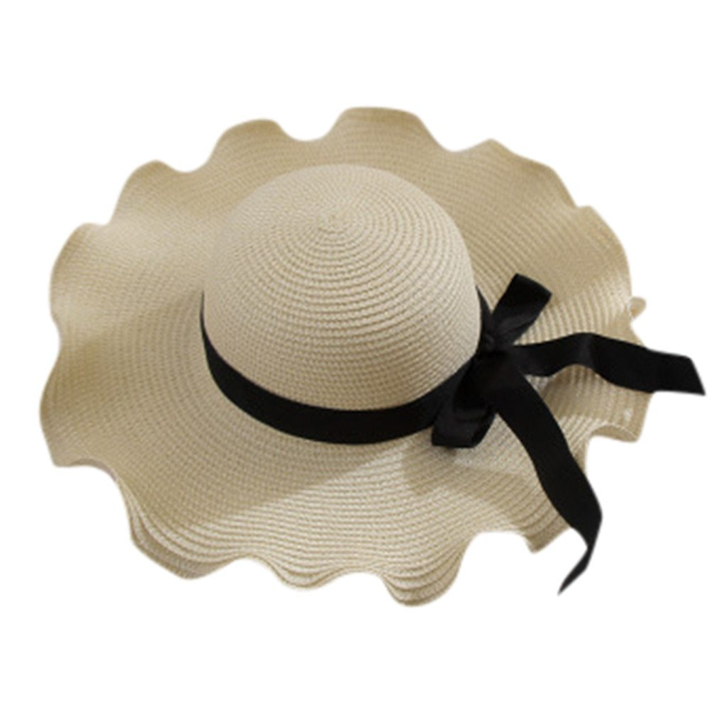 2019 New Women Summer Bowknot Straw Hat Stripe Floppy Foldable Roll up Beach Cap image 3