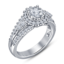 White Gold Plated 925 Silver Ladies Bridal Engagement Ring Round Cut Sim... - $81.99