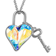 Women Girl Heart Lock Key Pendant Necklace Made with Swarovski Elements ... - $9.79