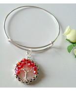 July Birthstone Red Crystal Beaded Tree of Life Charm Adjustable Bangle ... - $14.99