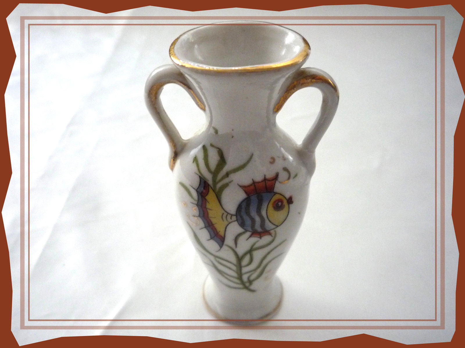 Primary image for White Fish Vase Made in Japan Miniature Vase with Handles, Trimmed in Gold